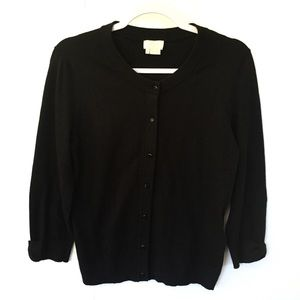 Kate Spade 3/4 Sleeve Black Cardigan